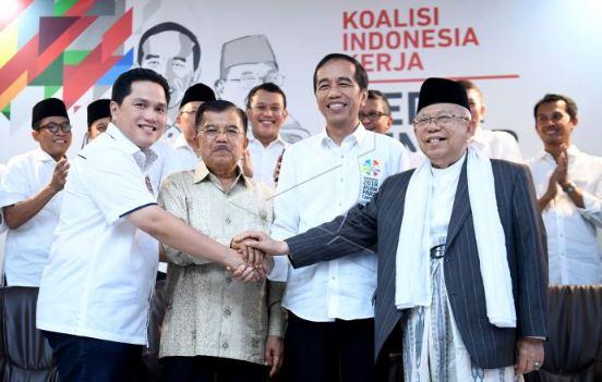 Jokowi-Ma'ruf Amin bersama Jusuf Kalla dan Erick Thohir.