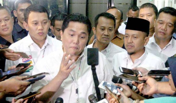 Erick Thohir saat berikan penjelasan kepada wartawan.