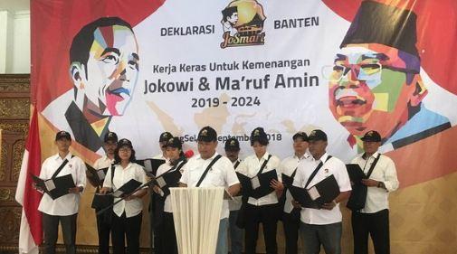 JoSmart saat deklarasi dukung Jokowi-Ma'ruf Amin.