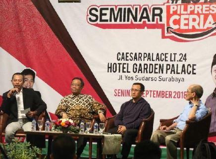 Mahfud MD saat seminar dan launching #2019PilpresCeria di Hotel Garden Palace Surabaya, Senin (17/9/2018).