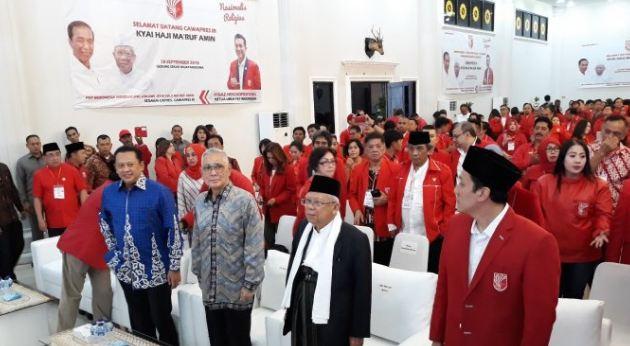 Ma'ruf Amin saat hadiri acara PKPI di Cipayung, Jakarta Timur, Selasa (18/9/2018).