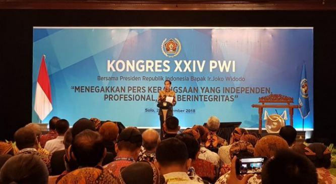 Presiden Jokowi saat pidato di kongres PWI Solo.