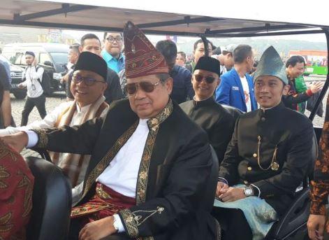 SBY saat menghadiri acara deklarasi kampanye damai di Lapangan Monas.