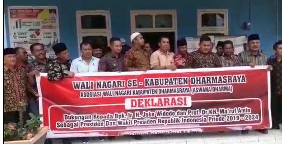 Wali nagari se-Kabupaten Dharmasraya, Sumatera Barat (Sumbar), mendukung pasangan Joko Widodo-Ma'ruf Amin pada Pilpres 2019.
