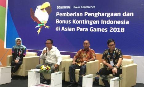 Konferensi pers pemberian penghargaan dan bonus kontingen Indonesia di Asian Para Games 2018.