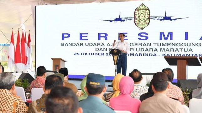 Presiden Joko Widodo atau Jokowi meresmikan Bandara Aji Pangeran Tumenggung (APT) Pranoto di Kota Samarinda, Kalimantan Timur, Kamis (25/10/2018).