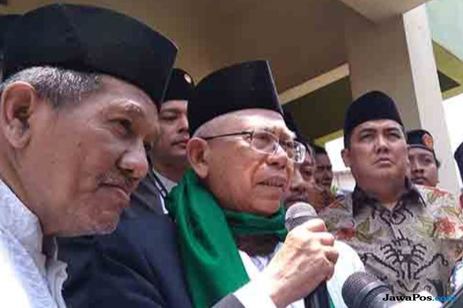 Ma'ruf Amin di Ponpes Al Munawir Krapyak, Minggu (14/10).