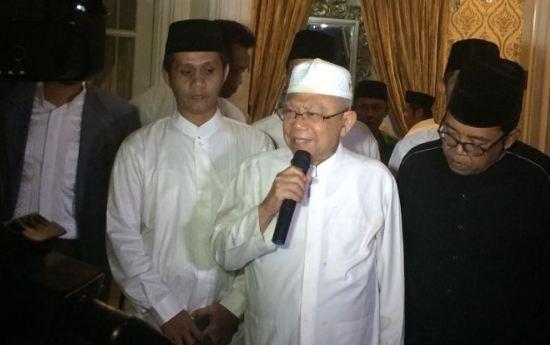 Cawapres 01, KH Ma'ruf Amin ketika bersilaturahmi dengan Nahdlatul Ulama DKI Jakarta, Jumat (12/10).