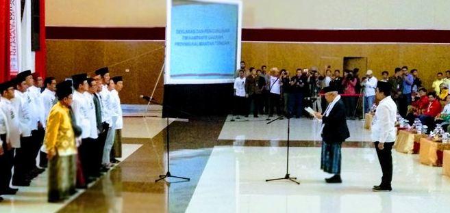 KH Ma'ruf Amin Lantik TKD dan Relawan Jokowi-Ma'ruf Amin di Palangka Raya, Kalteng, Selasa (23/10/2018).