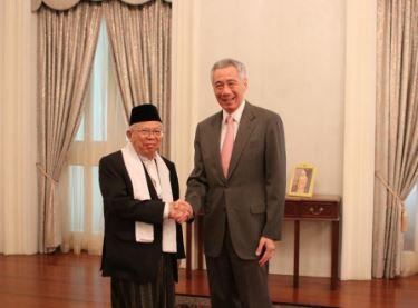 Ma'ruf Amin bertemu PM Singapura  Lee Hsien Loong.