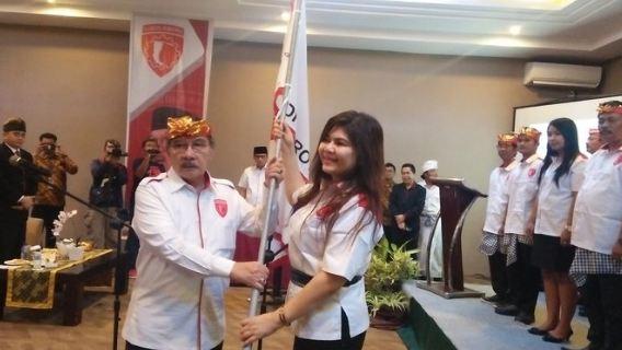 Antasari Azhari melantik pengurus DPD Garda Jokowi Provinsi Bali, di Kuta, Badung, Bali, Senin (26/11) malam.
