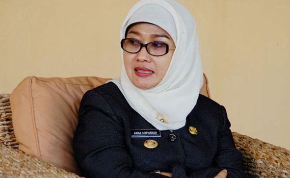 Bu pati Indramayu Anna Sophana yang mengundurkan diri.