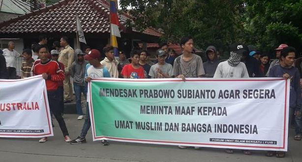 Aksi demo FUIB di depan Kantor DPP Gerindra.