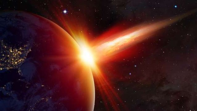 Ilustrasi asteroit tabrak  bumi.