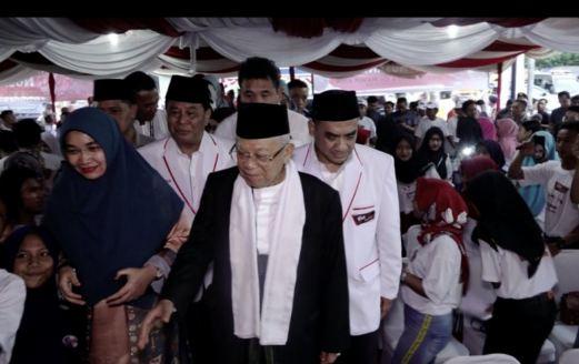 KH Ma'ruf Amin saat hadiri deklarasi Barnus di Medan.