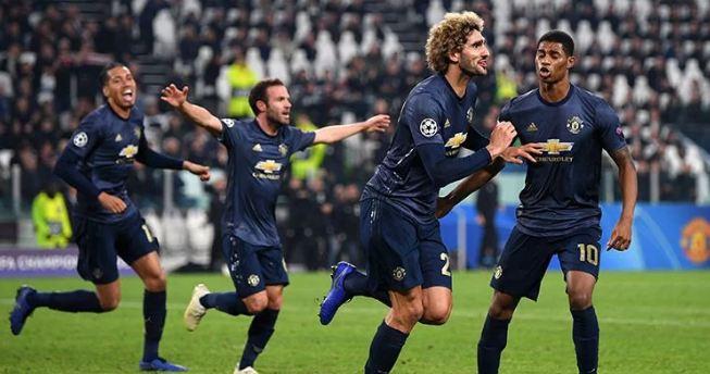 Selebrasi pemain MU usai kalahkan Juventus 2-1.