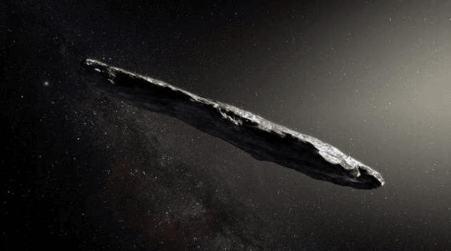 Objek interstelar yang dinamai Oumuamua seperti yang direka ulang oleh para artis. (AFP/European Southern Observatory/M. Kornmesser)