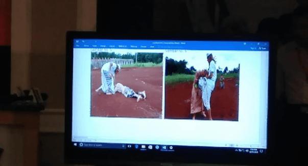 Dokumentasi Polda Jabar memperlihatkan tangkapan layar berupa video saat adegan Habib Bahar aniaya anak. Bukti gambar tersebut disampaikan polisi kepada wartawan di Mapolda Jabar.