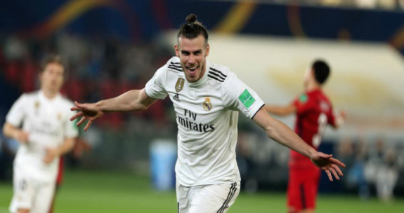Gareth Bale lakukan selebrasi usai cetak gol.