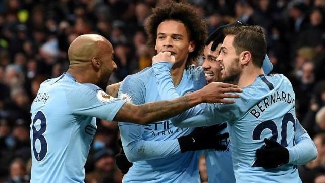 Para pemain City lakukan selebrasi usai kalahkan Everton 3-1.