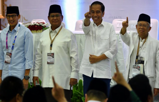 Pasangan calon Presiden dan Wakil Presiden Prabowo-Sandi dan Jokowi-Ma'ruf.