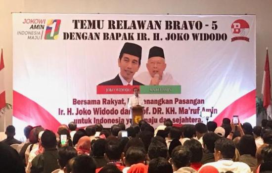 Presiden Joko Widodo saat menghadiri acara temu Kelompok Relawan Bravo-5 di Putri Duyung Ancol.