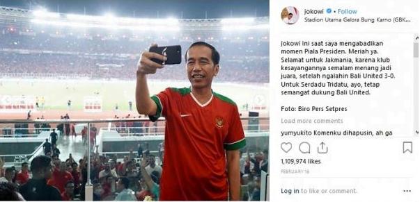 Salah satu foto Presiden Joko Widodo (Jokowi) yang paling populer di Instagram selama 2018. (Instagram/Jokowi)