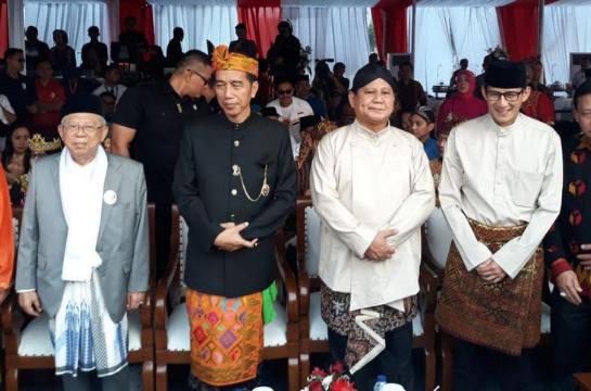 Dua pasangan capres-cawapres, Joko Widodo-Maruf Amin dan Prabowo Subianto-Sandiaga.