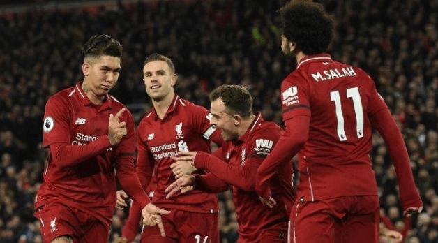 Para pemain Liverpool lakukan selebrasi usai banta Arsenal 5-1.