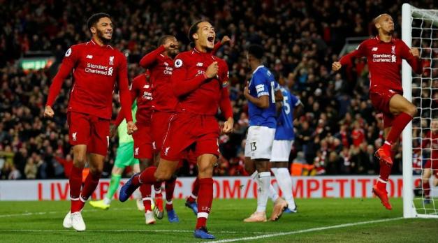Para pemain Liverpool luapkan kegembiraannya usai raih kemenangan dramatis.