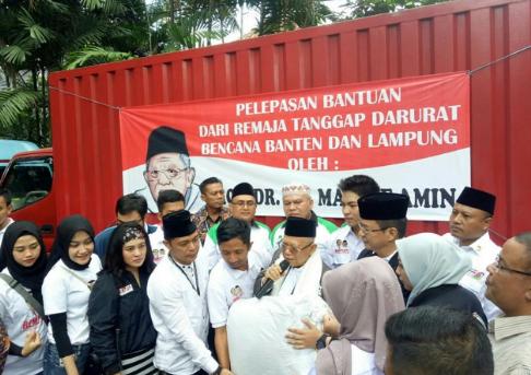 Cawapres Ma'ruf Amin melepas relawan dan bantuan untuk korban tsunami Banten.