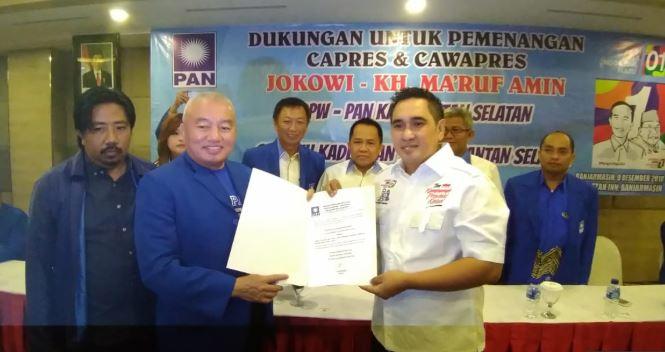 Ketua DPW PAN Kalimantan Selatan, Muhidin saat berikan dukungannya ke Jokowi-Ma'ruf Amin.
