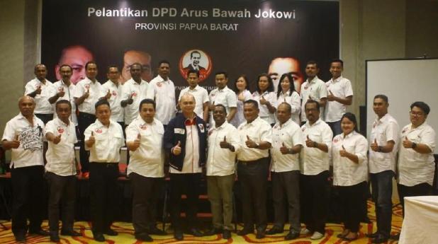 Pelantikan pengurus Arus Bawah Jokowi (ABJ) Papua Barat. (dok. Istimewa)