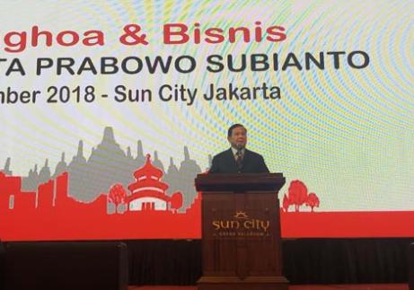 Prabowo Subianto memberi sambutan di acara ramah tamah dengan masyarakat Tionghoa di Sun City.