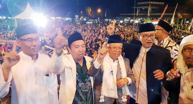 Ma'ruf Amin saat hadiri acara Ngawi Bersholawat di Alun-alun Ngawi, Jawa Timur, Senin (21/1/2019).