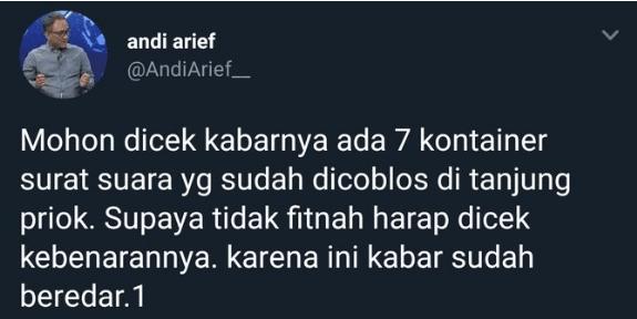 Cuitan Andi Arief soal 7 kontainer berisi surat suara.