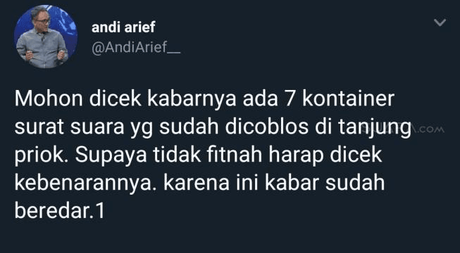 Tweet Andi Arief.