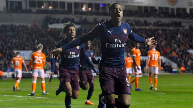 Para pemain Arsenal lakukan selebrasi usai kalahkan Blacpool 3-0.