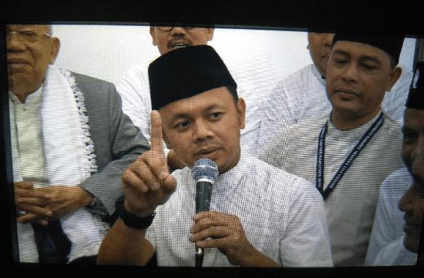 Wali Kota Bogor Bima Arya di acara silaturahmi Pondok Pesantren Al-Ghazaly yang dihadiri cawapres Ma'ruf Amin.