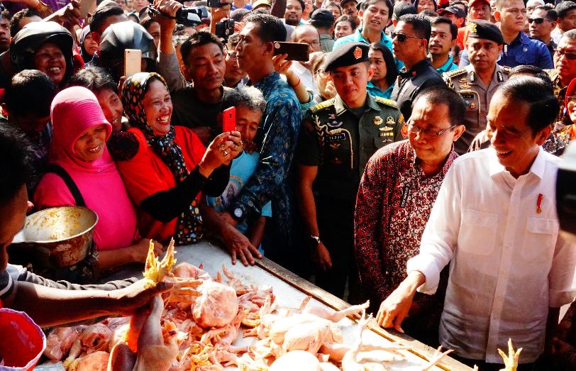 Presiden Jokowi belanja ayam saat blusukan ke Pasar Ngemplak, Tulungagung, Jatim, Jumat (4/1) pagi.