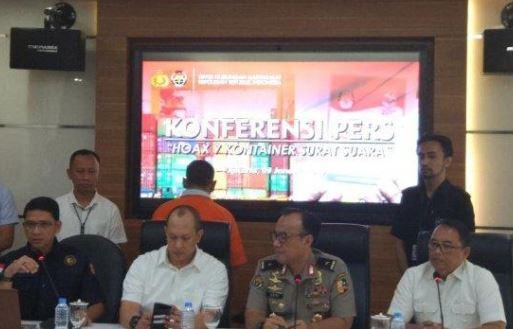Jumpa pers soal tersangka hoax surat suara tercoblos, Bagus Bawana Putra.