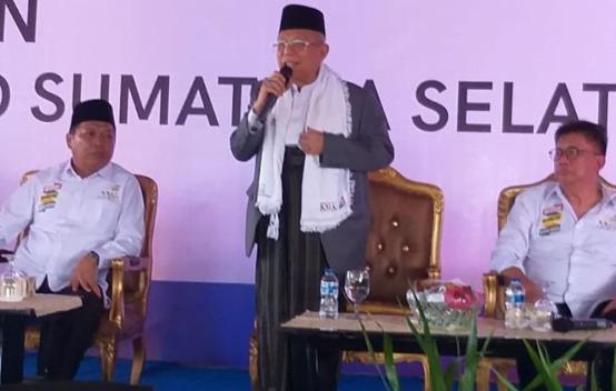Calon Wakil Presiden (Cawapres) Maruf Amin saat menghadiri acara silaturahmi tim TKD Sumatera Selatan.