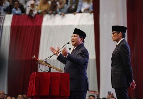 Prabowo Subianto saat pidato.