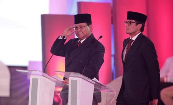 Prabowo-Sandi saat debat Capres-Cawapres.