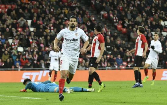 Nolito rayakan golnya ke gawang Athletic Bilbao.