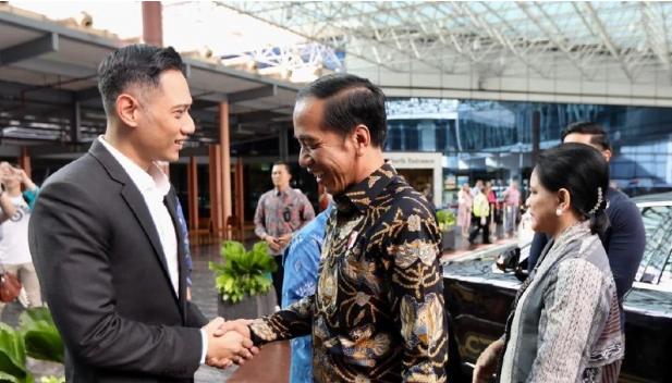 Presiden Jokowi di sambut AHY. (dok.Demokrat)