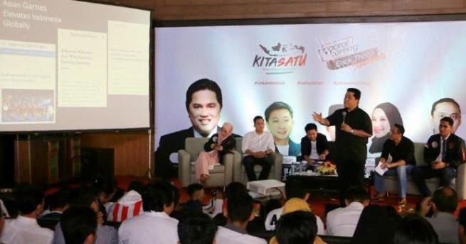 Erick Thohir saat bertemu dengan Pengusaha Milenial Semarang.