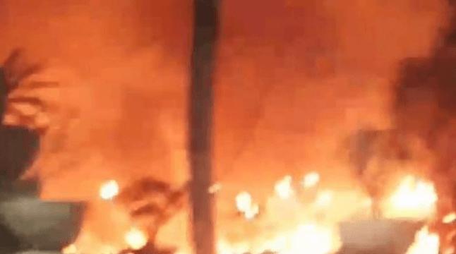 Hasil bidik layat video viral kebakaran di rumah Ketua DPR RI Bambang Soesatyo. (istimewa)