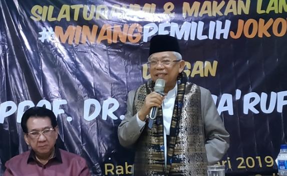 KH Ma'ruf Amin saat hadiri makan siang dengan komunitas Minang Jakarta.