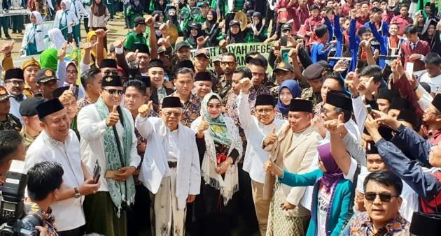 Cawapres 01 Ma'ruf Amin saat hadiri peringatan Harlah PC NU Cianjur, Jawa Barat, Kamis (14/2).